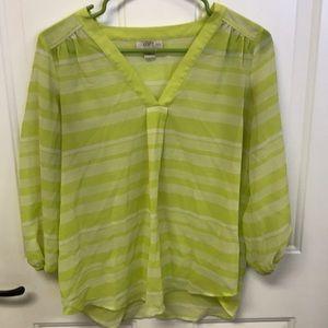 Loft, Green striped blouse, sheer, long sleeve, MP